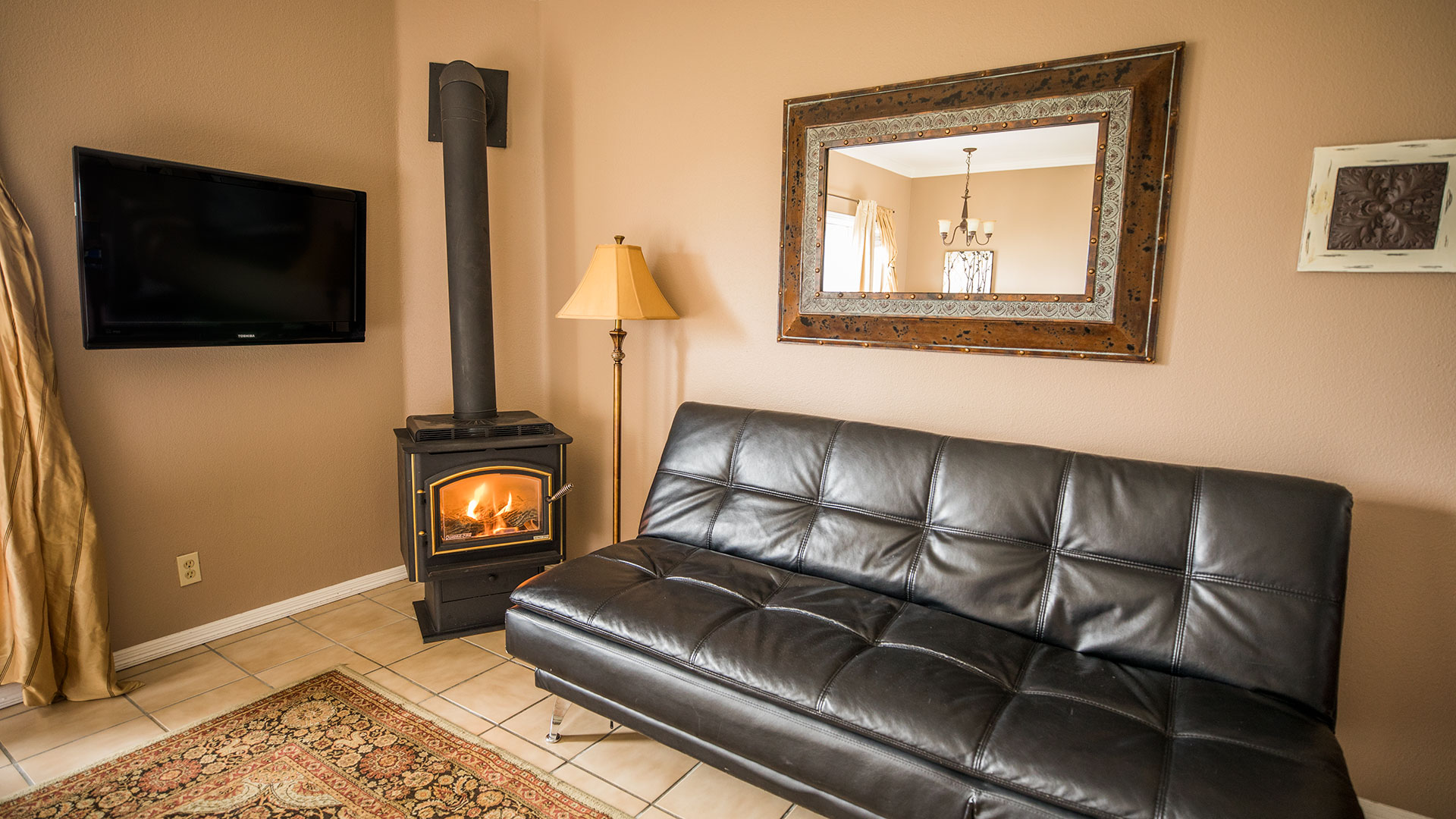 Flat Rock Sitting Area And Gas Stove