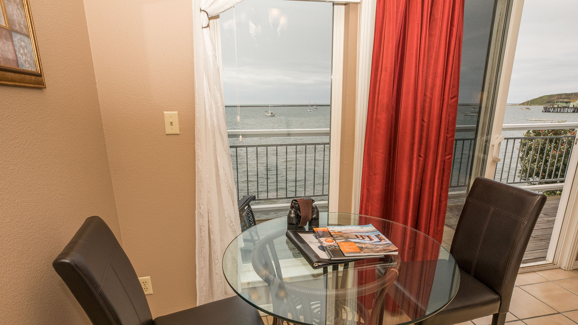 Ross Cove Room Dining Table Looking Out To Bay